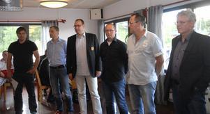 Här är Mora IK:s styrelse: Från vänster Peter Hamrén, Mats Björkman, Patrik Andersson, ordförande, Mats Landerstedt, Hans Arnesson och Allan Björklund. PÅ bilden saknas Magnus Birekholm.