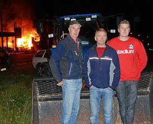 Per Limberg, Tomas Karelius och Joakim Limberg gjorde en hjälteinsats och räddade två personer vid höstens brand i Lima handel.