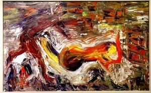 """Dagarna. En svit med 13 datummärkta målningar, till höger """"Alla hjärtans dag kl. 20.12""""."""