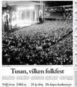 Ur ST 14/8 2004. Publikrekord med Gyllene Tider, 24 000 personer var på konserten på Idrottsparken.