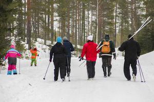 Många tog chansen att åka skidor i parken.