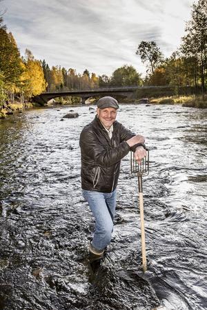 1000-tals arbetstimmar har arbetsgruppen i Harmångersåns nedre del lagt ner för att med spadar och sållredskap skapa lekområden för havsöringen. Harry Grönoset är nöjd nu när fiske leker överallt.