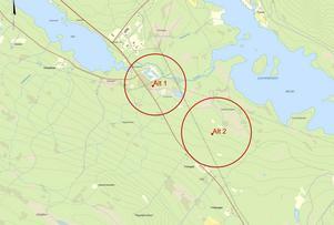 Översiktsbild över de två aktuella områdena. Område ett är där det finns ett reningsverk i dag.