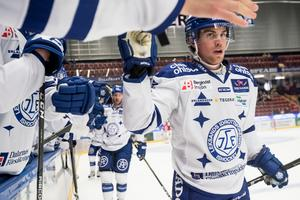 Oskar Lang gjorde båda Leksands  mål mot BIK Karlskoga.Foto: Daniel Eriksson/Bildbyrån