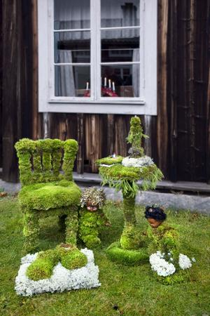 Mosskonst på gårdstunet i Hårga.