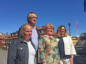 Helena Hagberg (L), Tomas Högström (M), Birgitta Andersson (C), Malin Gabielsson (KD) presenterade alliansens budgetförslag. För tolfte året lägger alliansen en gemensam budget.