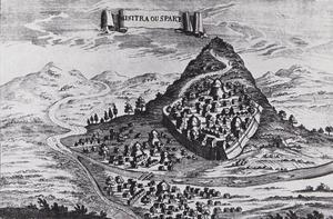 Mistra eller Sparta, ett stick från 1686 av italienaren V Coronelli. Borgen högst uppe på toppen. Men så här brant är inte berget i verkligheten.