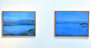 Traditionella landskapsmålningar kompletterar de mer abstrakta målningarna fint på Galleri S.