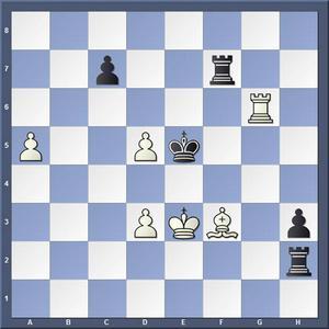 Lösning: 1. d4+ Kf5 2.Le4 matt.