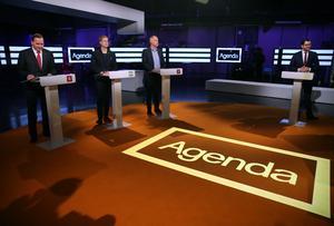 Värnar partiledarna åsiktsutbyte och yttrandefrihet? Bilden från debatt i SVT