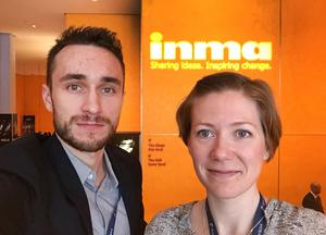 Jonatan Svedgård och Evelina Davidsson på INMA Global Media Awards i New York.
