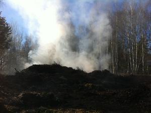 Rök steg från rishögen i Adolfsberg omkring klockan 17 på måndagen.