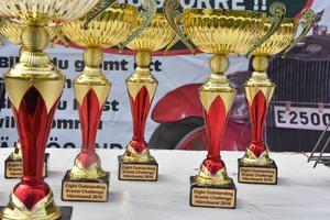 Pokaler står uppradade vid registreringen.