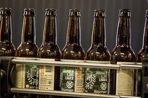 De tomma flaskorna på väg in i maskinen som tappar ölen.