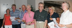 Sju serviceglada medlemmar som gjorde allt för att skapa en trevlig fest. Gerd (från vänster), Hilding, Sture, Anders, Sten, Karin och Kerstin.