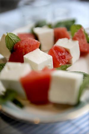 Som accentsmak till vattenmelon kommer fetaostens syrlighet till sin fulla rätt.    Foto: Erik Mårtensson/TT