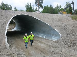 Svevias Stellan Magnusson och Johan Fischer i tunneln som ska leda älgar och andra djur under väg 56.