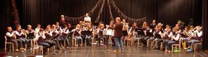 Gagnefs Windband under ett julframträdande i Lindberghallen.