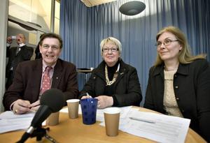 För första gången har landstinget i Gävleborg fått en blocköverskridande politisk majoritet. Landstingsråden Björn Brink, C, Ann Margret Knapp, S, och Maria Aspers, MP, ska styra fram till nästa val 2010.