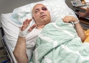 Taxiföraren Taher Bukani i Västerås blev svårt misshandlad av rånaren.