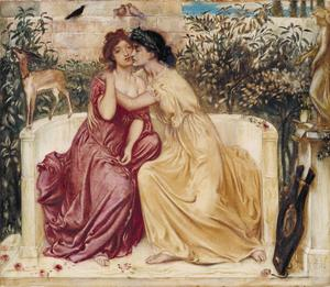 Sapfo med sina vännina Erinna. Målning av Simeon Solomon från 1864.