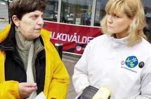 Enad front för ett nyktrare liv. Vivan Åhman, ordförande i IOGT-NTO i Jämtland, och Anne Catrine Hedman, som kandiderar till riksdagen för Kristdemokraterna, på Lillänge köpcentrum.