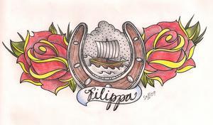 Fredrik Reinfeldt tycker att motivet är vackert, men tackar nej till att tatuera in det på bröstet. Båten i mitten symboliserar hans fru Filippa, hästskon ska ge lycka och de röda rosorna visar hans stora kärlek sin hustru.