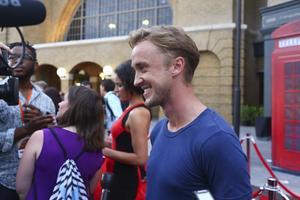 Tom Felton, som spelar Malfoy, på en förtitt av Harry Potter-världen.