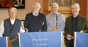Clarinette à la carte består av fr v Stig Lindstedt, Stig Andersson, Olle Olofsson och Stefan Vestberg.