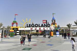 Huvudingången till nybyggda Dubai Legoland.
