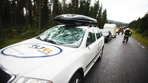 Bilen fick vindrutan intryckt vid kollisionen.