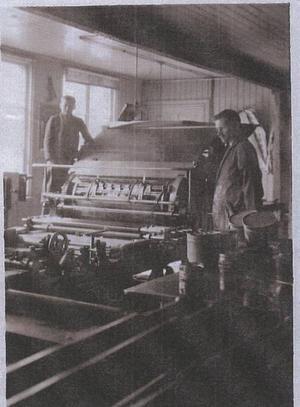 En interiör från tryckeriet på Hattmakargatan 15, tvärs över gatan från Gefle Dagblad.