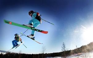 Källvikens Snowpark - ett eldorado för halsbrytande skidåkning.            Foto: Staffan Björklund