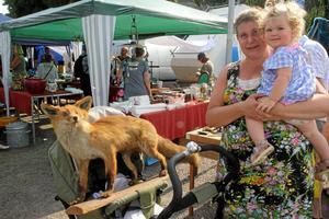 Fyrfota fynd. Lilla Tyra blir buren av mamma Elin Leijon, för i vagnen sitter en räv som familjen handlat på antikmässan.