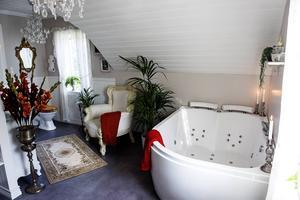Det kombinerade badrummet, tvättstugan och bastun är 25 kvadratmeter stor.
