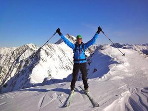 Mattias Skantz på Kreuzjochkogel, i Österrike, 2 746 meter över havet. Den här toppen nådde han 8 februari, sedan dess har det blivit många fler och på annandag jul nådde han målet – 366 bergstoppar under 2012.