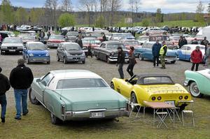 Många bilar. Det är många som vill komma och titta och även bli betittade när det är Vårmönstring.