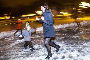 Tövädret passade utmärkt för ett snöbollskrig.
