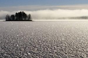 Orrmosjön när isen precis börjat lägga sig. Vattendimma i bakgrunden där sjön fortfarande ligger öppen.