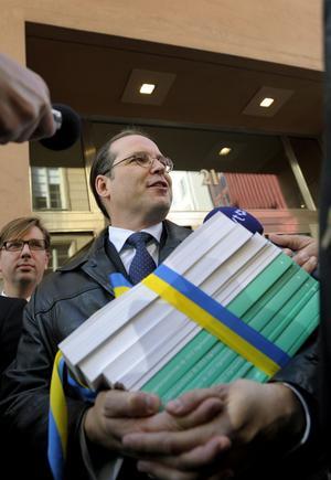 Borg med skyddsvall. Finansminister Anders Borg lägger en försiktig budget för att ha utrymme kvar om det oron fördjupas.foto: scanpix