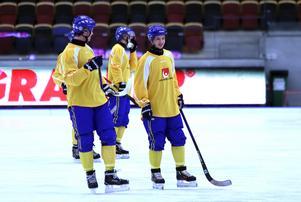 Hans Andersson med David Pizzoni Elfving under torsdagens träning med landslaget.