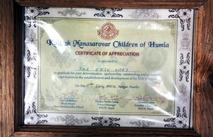 Diplomet är ett tacksamhetsbevis från skolhemmet i Humla, Nepal.
