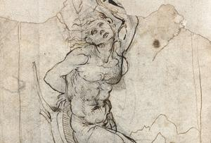 Leonardo da Vincis teckning av den helige Sebastian. Bilden är beskuren.