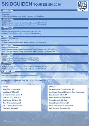 Här kan du se fakta om Tour de Ski och vilka tider som gäller framöver.