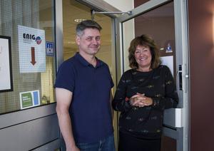 Benny Berglund och Maria Brenner Jakobsson arbetar på Enig.