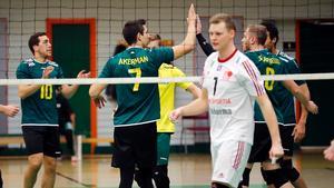 Ashur Ibrahim, David Åkerman, Stefan Edgren, Linford Bennett och Justin Scapinello jublar på lördagen.