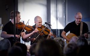 Gruppen Draupner: Henning Andersson, Görgen Antonsson och Tomas Lindberg spelade folkmusik med gung.