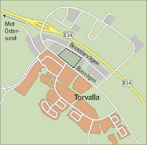 Här ska det nya småindustriområdet byggas i Torvalla. Liksom vattentornet. (Klicka för större bild)