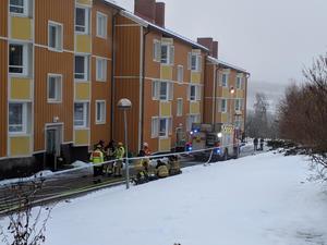 Insatsen vid den första branden i december.