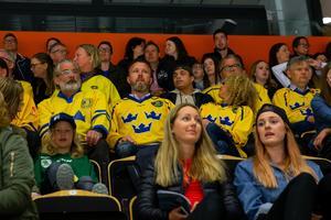 Svenska supportrar på plats för att stötta laget i semifinalen mot Kanada. Foto: Johan Löf/BILDBYRÅN